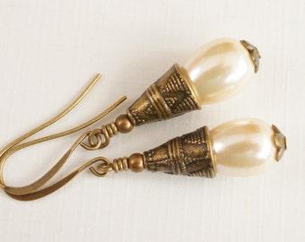 Ivory earrings, glass pearl earrings, cream earrings, pearl drops, antiqued bronze earrings, teardrop earrings, neutral earrings, UK seller