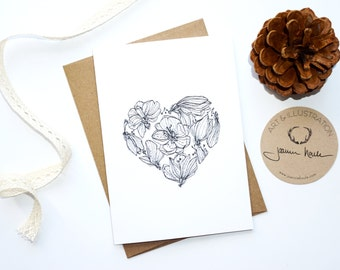 Flowery heart card, wish, greeting cards, map love