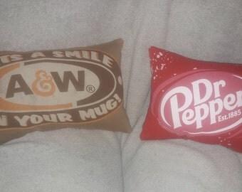 dr pepper / a&w t shirt pillow