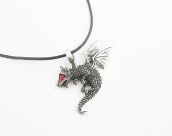 Dragon evil leather cord necklace