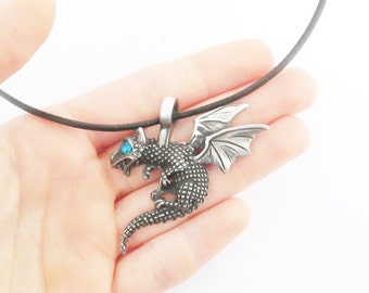 Blue silver dragon leather cord necklace, blue rinestone dragon necklace leather cord necklace jewelry