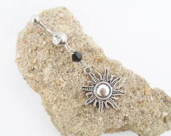 Sun dangle belly ring, sun belly button ring piercing, sun navel piercing jewelry
