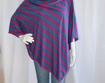 Vintage Striped Poncho / Lightweight Nursing Cover / Nursing Shawl / One shoulder Top/ Lightweight Wrap / New Mom Gift / Retro Top