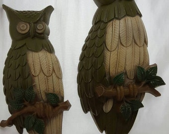 Vintage Owls Wall Decor 3D Woodland Vintage Home Vintage Owl Wall Art Wall Hanging (set of 2 circa 1969)
