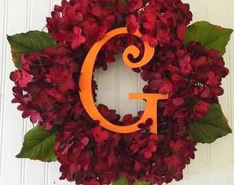 Thanksgiving wreath, fall door wreath, wreath fall, fall wreath, wreath for fall, monogram wreath, personalized wreath, fall hydrangeas