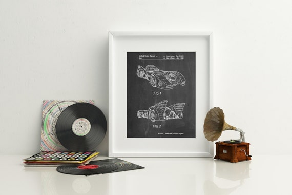 Batman 1990 batmobile patent poster batman car batman decor for Home decor 1990s