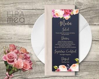 Wedding Menu Printable, Floral Wedding Menu card, Navy Wedding Menu, Printable wedding Menu, Modern Wedding Menu, Hydrangea & Peony Menu
