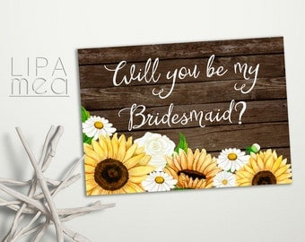 Rustic Bridesmaid Card, Will you be my Bridesmaid, Sunflower Bridesmaid Card, Floral Bridesmaid Card, Daisy Bridesmaid Card Printable