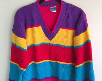 Vintage Colorful Colorblock Striped Heart Sweater