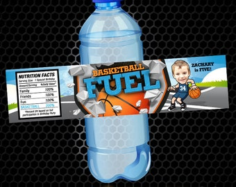 Water Bottle Label - Basketball Birthday Party - Sports Water Bottle Label