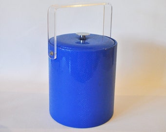Vintage Ice Bucket: Electric Blue Faux Snake Skin Vinyl,Acrylic Handle, Padded Lid, Chrome Handle. 1970's. Hipster Barware. Mod Retro Cool!