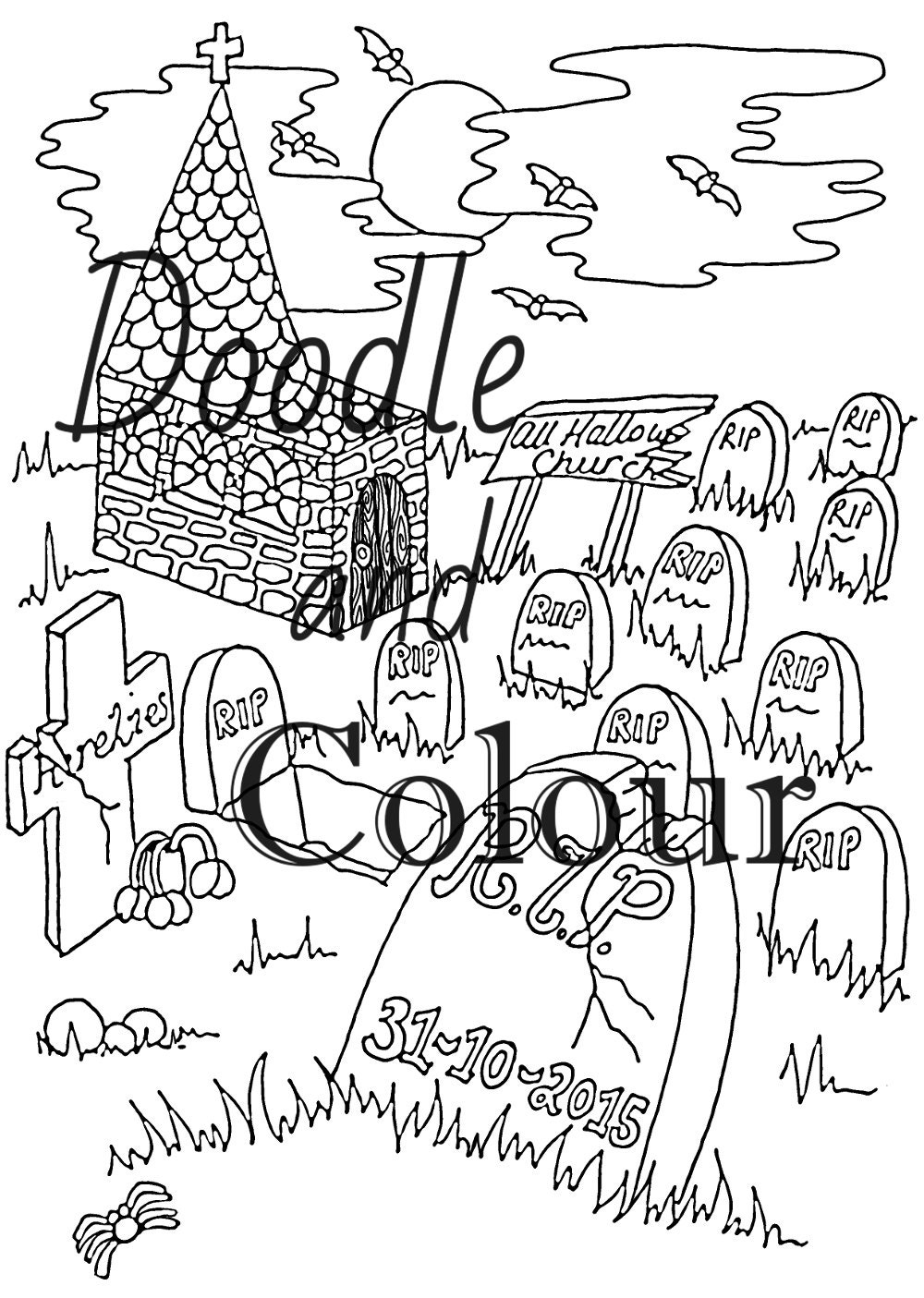 halloween graveyard coloring pages - photo#14