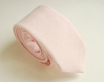 Blush Pink Wedding Necktie- Grooms  Necktie- Groomsmen Neckties- Mat Linen/cotton Neck ties- Blush Bow ties