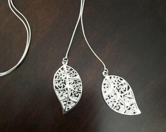 Silver Leaf Necklace, leaf necklace, leaf, flower necklace, flower pendant, leaf pendant, leaf jewelry, flower jewelry, silver necklace