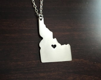 Idaho Necklace, Idaho, silver Idaho necklace, Idaho jewelry, Idaho pendant, state necklace, state jewelry, necklace, silver necklace