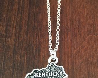 Kentucky Necklace, Kentucky, silver Kentucky necklace, Kentucky jewelry, Kentucky pendant, state necklace, state, necklace, silver necklace