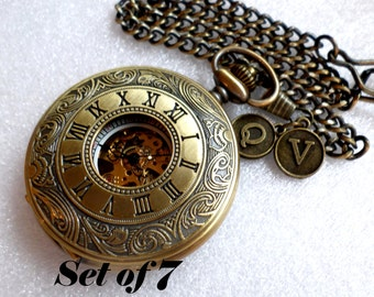 Personalized Set of 7 Antique Bronze Gold Pocket Watches with Watch Chains Groomsmen Best Man Usher Wedding Ships to United States/Canada