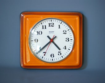 VINTAGE WALL CLOCK by Staiger, West Germany, Bright Orange Ceramic Clock, Made in Germany 1970s, Retro Kitchen Clock, West German Pottery