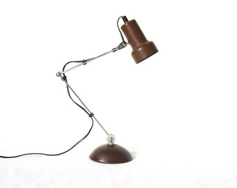 VINTAGE TABLE LAMP, Hinged and Adjustable, Brown Industrial Style Lamp by 'Lumess', Switzerland, Swiss Desk Lamp, 1960s Night Stand Lamp