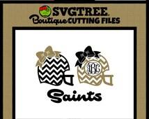 Football Helmet SVG. Chevron Football SVG. Bow Monogram SVG. Saints svg. svg files. cricut files. silhouette files. cutting files. cuttables