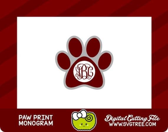 Paw Prints Monogram Svg: Paw Print SVG Bulldog SVG Monogram Dog Monogram SVG By SVGTREE