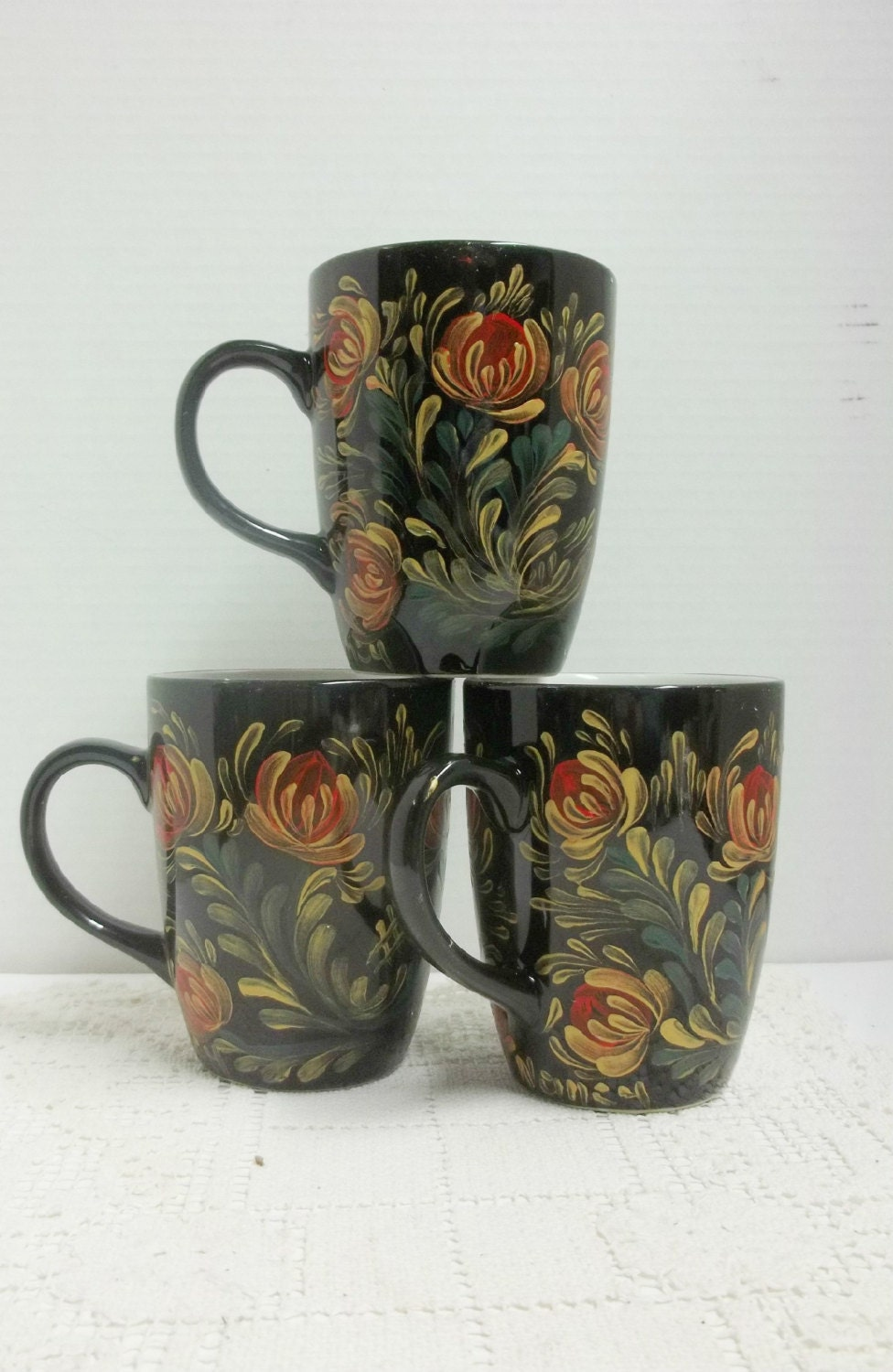 Mugs black ceramic coffee cups coffee mugs hand painted for How to paint ceramic mugs at home