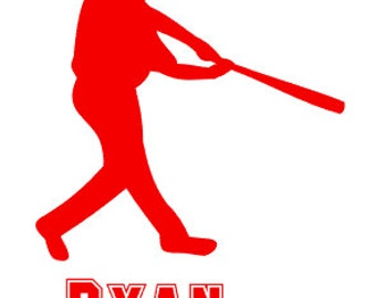 "FREE SHIPPING //  4x5"" Baseball Player Vinyl Decal - Team Spirit Decal - Little League - Team Mom - Car Decal - Laptop Decal"