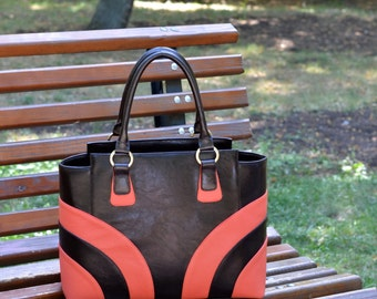 BROWN LEATHER BAG, Leather Tote Bag, Leather Shoulder Bag, Large Leather Bag, Women's Leather Bag, Woman Leather Tote, Laptop Leather Bag