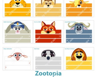 Zootopia Animals Paper Crowns Set. 10 DIY Crowns Template. Zootopia Birthday and Photo Booth Props Template kit. DIGITAL