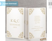 Wedding Program Template (Foldover Booklet-Style) | DOWNLOAD Instantly - EDITABLE TEXT | Nadine (Gold) | Microsoft Word Format |