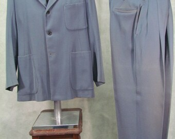 1940s Mens Suit Gabardine Ricky Jacket Patch Pockets Baggy Pants Trousers 42R