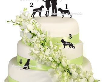 Pets With Silhouete Bride and Groom  Wedding Cake Topper MADE IN USA
