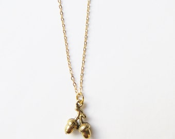 Acorn Necklace, Gold Acorn, Acorn Pendant, Woodland Jewellery, Gold Chain