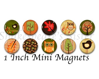 Fall Magnets - Fridge Magnets - Nature Art - 10 Magnets - 1 Inch Mini Magnets - Kitchen Magnet