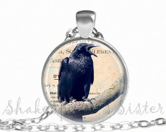 Black Crow Necklace - Black Raven Necklace - Crow Pendant - Crow Jewelry - Crow Necklace - Raven Jewelry