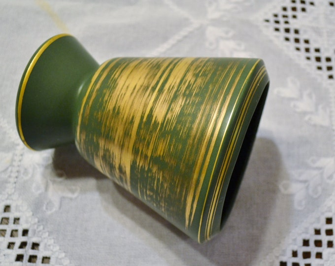 Vintage Ceramic Vase Green Gold Design Flower Pot Organizer Mid Century Panchosporch