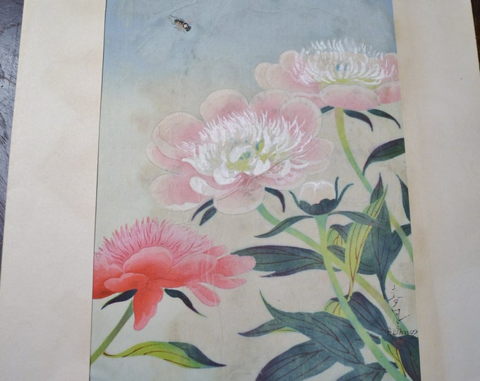 Bakufu Ohno Pink White Flowers Bumblebee Floral Woodblock Unframed Signed Japanese Asian Mid Century Art B Ohno Panchosporch
