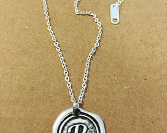 R initial wax stamped necklace