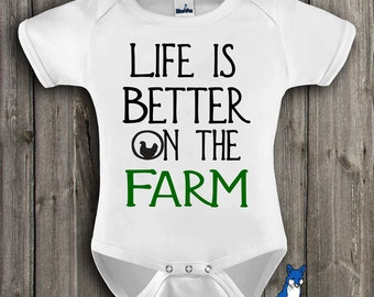 Farm Baby Clothes-Cute baby clothing-Country baby clothing-Farm Baby Shower-Farmer baby gift-Life is better on the farm-Blue Fox Apparel-268