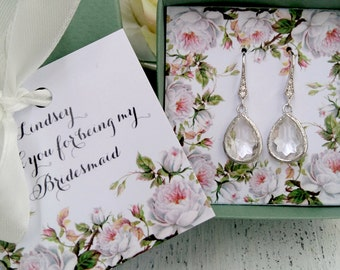 Bridesmaid jewelry set clear crystal earrings, bridesmaid earrings,  bridesmaid jewelry,  bridesmaid gift