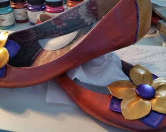 Painted leather flats
