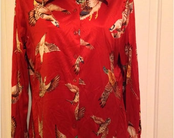 Vintage 1970s Women's Disco BLOUSE top bird print