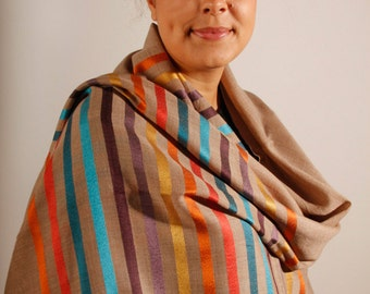 Silk and Wool Striped Scarf - natural