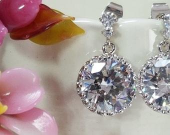 Minimalist Bridal Earrings, CZ Bridal Stud, Cubic Zirconia Drops, Wedding Jewelry, Mother of the Groom, Bridesmaid Gift, Anniversary, E2097
