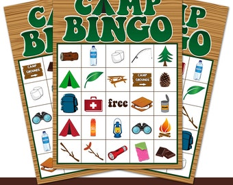 Green Camping Party Bingo Cards