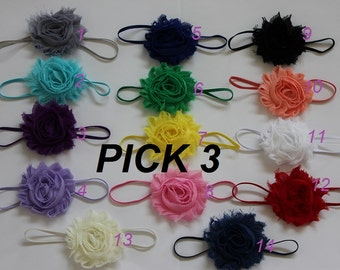 Infant  headband - baby girl headband - skinny headband baby - skinny hair bands - shabby chic flower headband - newborn band - baby girl