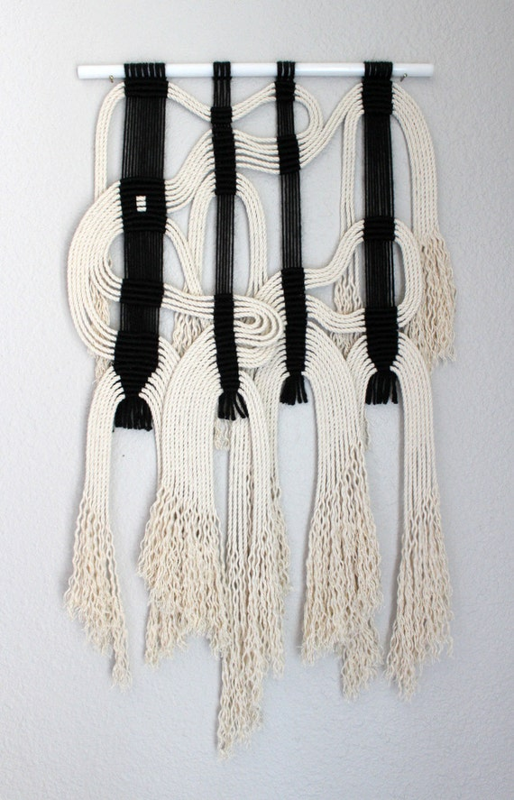 Macrame Wall Hanging Blk Wht 19 By Himo Art