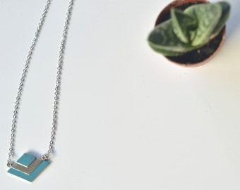 Geometric Chevron Aztec Necklace Kaki Aqua