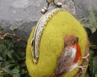 Wet Felted Robin coin purse Ready to Ship with gift wrapping, frame metal closure Kiss lock gift for her
