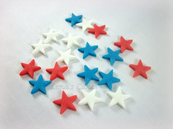 Edible Cake Decorations Stars : Fondant Stars Red White Blue Edible Toppers, 4th of July ...